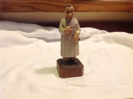 Carved and Painted wood Working Monk Figurine on stand Italy image 9