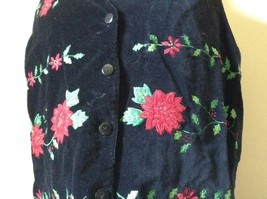 Casey and Max Black Sleeveless Vest with Flowers Buttons Red Green Size Large image 2