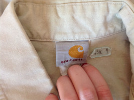 Casual Off White Button Up Collared Short Sleeve Shirt Carhartt 2 Pockets image 9