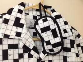 Cats Pajamas Flannel Pajama Set w Crossword Pattern & Eye Mask S or L choice image 4