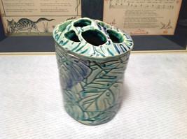 Ceramic Blue Green Handmade Toothbrush Holder large family cleans inside image 3