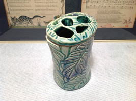 Ceramic Blue Green Handmade Toothbrush Holder large family cleans inside image 4
