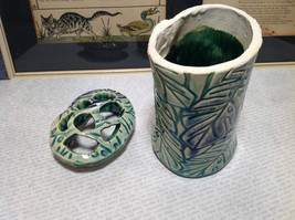 Ceramic Blue Green Handmade Toothbrush Holder large family cleans inside image 5