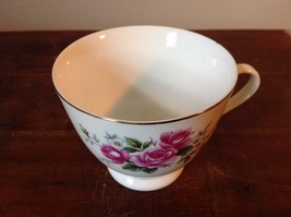 Ceramic China Tea Cup set with Floral Design Gold Tone Accents Pink Flowers image 3