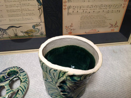 Ceramic Blue Green Handmade Toothbrush Holder large family cleans inside image 7