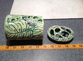Ceramic Blue Green Handmade Toothbrush Holder large family cleans inside image 9