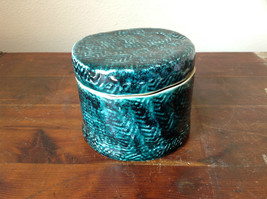 Ceramic Hand Crafted Artisan Jar Trinket Box Deep Sea Green 1999 SVSH image 3