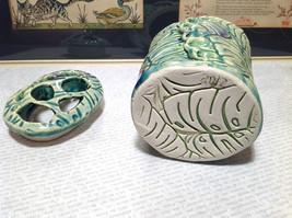 Ceramic Blue Green Handmade Toothbrush Holder large family cleans inside image 8