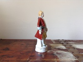 Ceramic Japanese Figurine Man in Red Coat Tall Hand Painted Vintage image 6