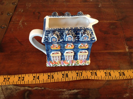 Ceramic Hand Painted Creamer with Spout and Handle Shaped to Look Like a House image 5