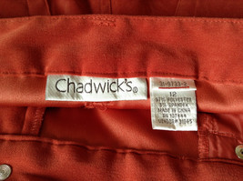 Chadwicks Red Long Pants Four Pockets Zipper and Snap Closure Size 12 image 3