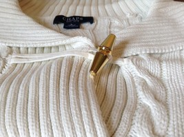 Chaps White Long Sleeve 100 Percent Cotton Sweater Fancy Button at Neck Size L image 6