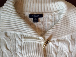 Chaps White Long Sleeve 100 Percent Cotton Sweater Fancy Button at Neck Size L image 5