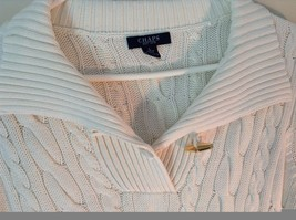 Chaps White Long Sleeve 100 Percent Cotton Sweater Fancy Button at Neck Size L image 2