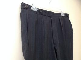 Charcoal Gray Blue Pin Striped 4 Pocket Pleated Pants Belt Loops No Name Tag image 3
