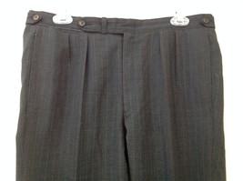 Charcoal Gray Blue Pin Striped 4 Pocket Pleated Pants Belt Loops No Name Tag image 2