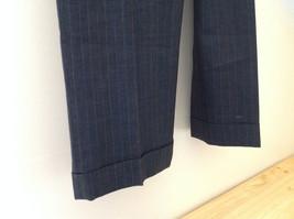 Charcoal Gray Blue Pin Striped 4 Pocket Pleated Pants Belt Loops No Name Tag image 4