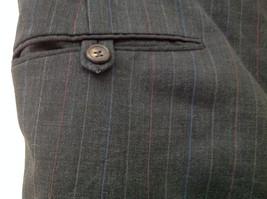 Charcoal Gray Blue Pin Striped 4 Pocket Pleated Pants Belt Loops No Name Tag image 5