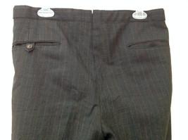 Charcoal Gray Blue Pin Striped 4 Pocket Pleated Pants Belt Loops No Name Tag image 6