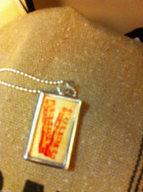 Charm Necklace Keep Calm and Eat Bacon and Bacon strips on reverse w ball chain image 3