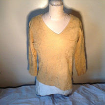 Chicos Gold Yellow V Neck Top Three Quarter Length Sleeves Size 1 image 2
