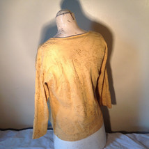 Chicos Gold Yellow V Neck Top Three Quarter Length Sleeves Size 1 image 6