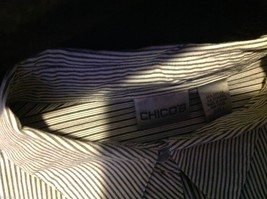 Chico's Size 2 Long Sleeve blouse with stripes in blue white accents image 4