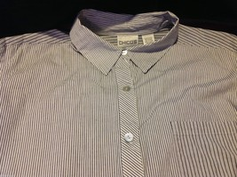 Chico's Size 2 Long Sleeve blouse with stripes in blue white accents image 5