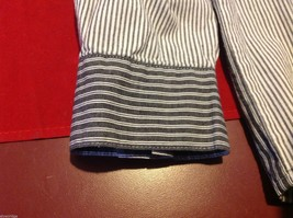 Chico's Size 2 Long Sleeve blouse with stripes in blue white accents image 9