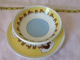Child Dish and Bowl Set Yellow White and Blue With Teddy Bears and Child image 4