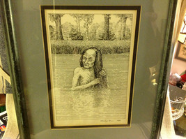 Children's book illustrator Wendy Lewis pen and ink scary witch hag in lake image 2