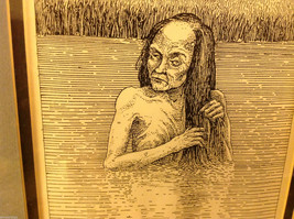 Children's book illustrator Wendy Lewis pen and ink scary witch hag in lake image 3