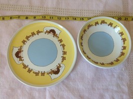 Child Dish and Bowl Set Yellow White and Blue With Teddy Bears and Child image 2