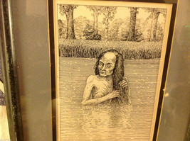 Children's book illustrator Wendy Lewis pen and ink scary witch hag in lake image 4
