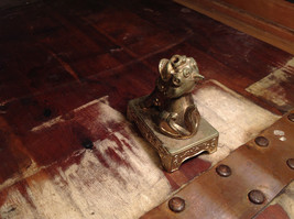 Chinese Guardian Foo Dog Statuette Brass Tarnished Antique Incense Holder image 4