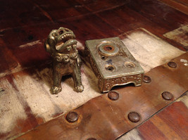 Chinese Guardian Foo Dog Statuette Brass Tarnished Antique Incense Holder image 6