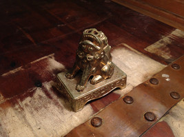 Chinese Guardian Foo Dog Statuette Brass Tarnished Antique Incense Holder image 5
