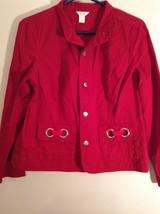 Christopher and Banks Red Long Sleeve Jacket Blazer Front Pockets Size Large image 2