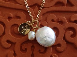 Christian Cross prayer faith necklace with fresh water pearls on gold necklace image 2