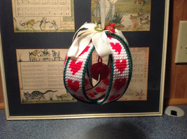 Christmas Fabric Ball Ornament with Red Bell Green White Red Ribbon image 2