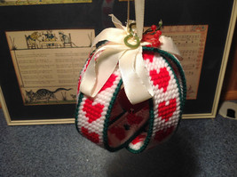 Christmas Fabric Ball Ornament with Red Bell Green White Red Ribbon image 3