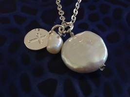 Christian Cross prayer faith necklace w fresh water pearls on silver necklace image 3