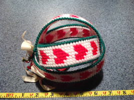 Christmas Fabric Ball Ornament with Red Bell Green White Red Ribbon image 4