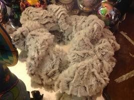 Choice of colors white gray marble faux fur twistie scarf with easy fasten loop image 4