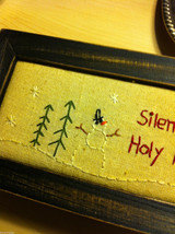 Christmas Wooden Box w Stitching Padded Top Silent Night Holy Night holds gloves image 2