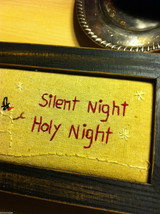 Christmas Wooden Box w Stitching Padded Top Silent Night Holy Night holds gloves image 3