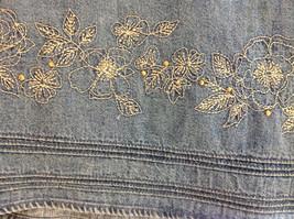 Christopher & Banks Jean Flower Embellished Mid Length Skirt Size 6 image 3