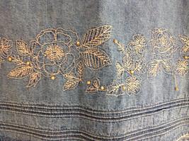 Christopher & Banks Jean Flower Embellished Mid Length Skirt Size 6 image 4
