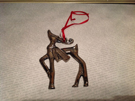 Chromed Brass Reindeer Ornament Red Ribbon Attached for Hanging image 2