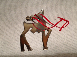 Chromed Brass Reindeer Ornament Red Ribbon Attached for Hanging image 8